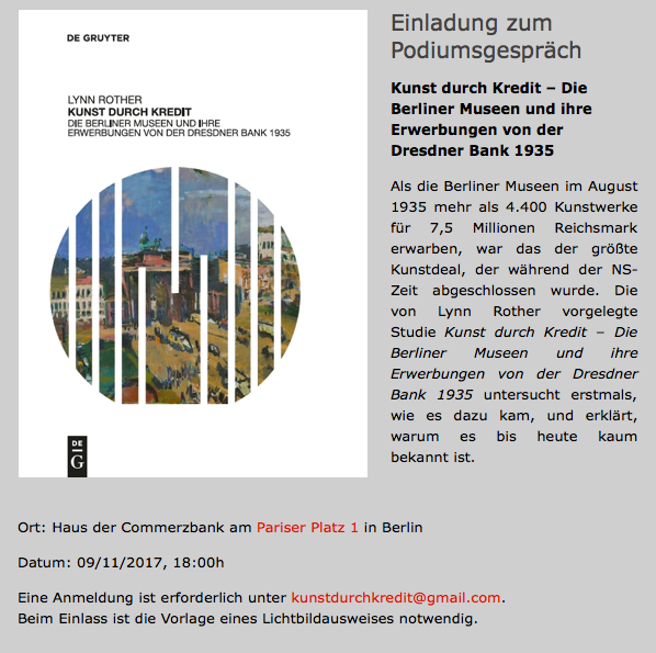 Panel discussion: Berlin Museums and their acquisitions from ...